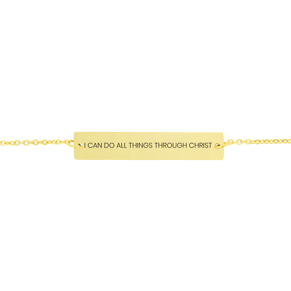 I Can Do All Things Through Christ Horizontal Bar Bracelet - FP-HBB-ICANDO