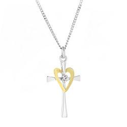 Golden Heart Crystal Cross Necklace - HJS-CM285