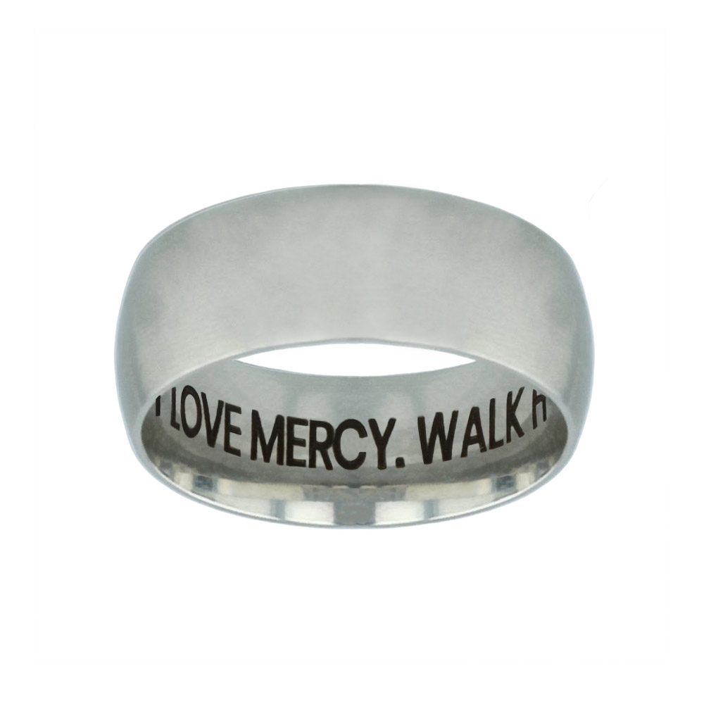 Act Justly. Love Mercy. Walk Humbly. Hidden Verse Silver Domed Ring - FP-RNGB-SLV-ALW-HV
