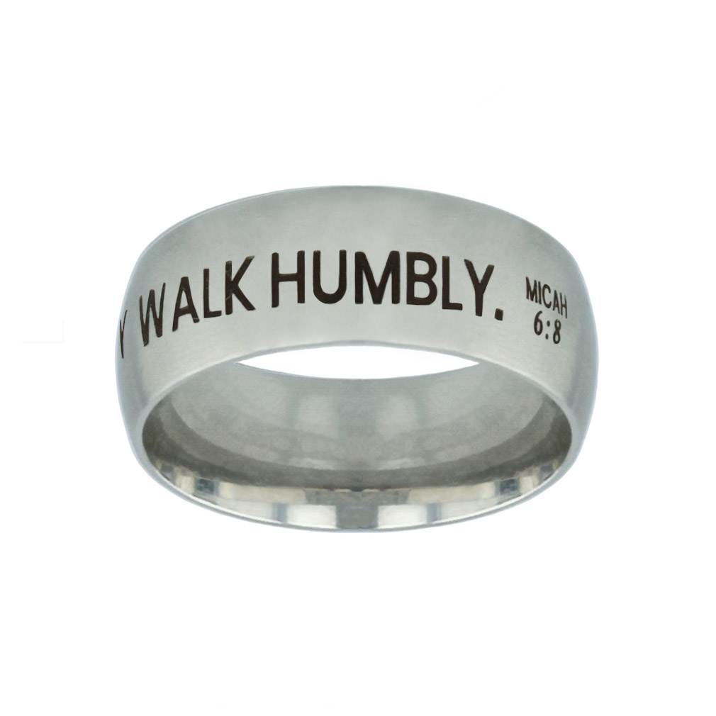 Act Justly. Love Mercy. Walk Humbly. Silver Domed Ring - FP-RNGB-SLV-ALW