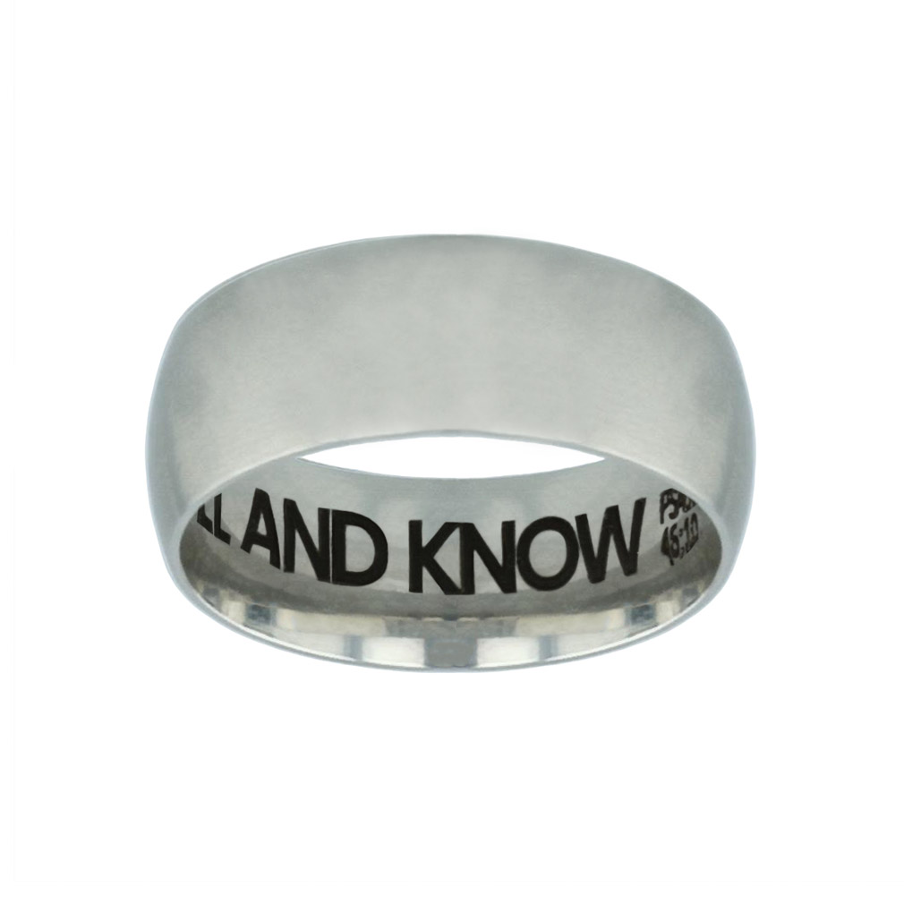 Be Still and Know Hidden Verse Silver Domed Ring - FP-RNGB-SLV-BESTILL-HV