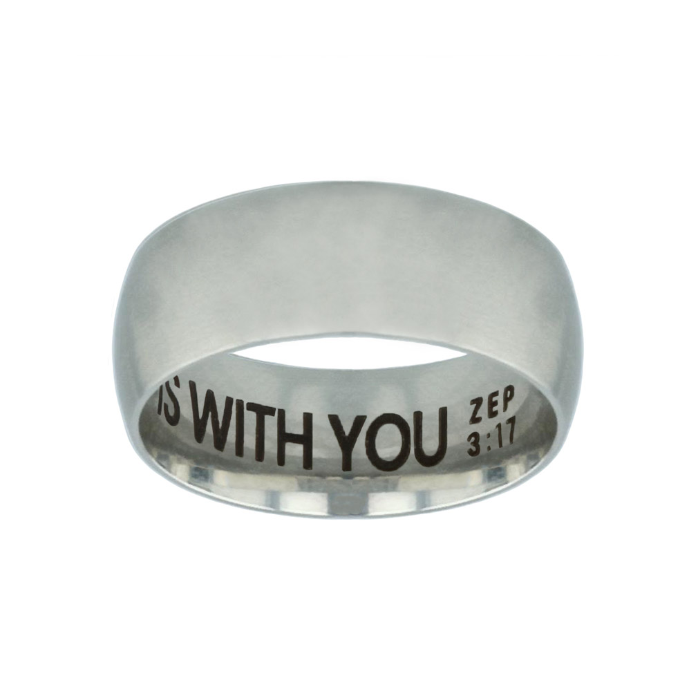 God is With You Hidden Verse Silver Domed Ring - LDP-RNGB-SLV-GIWY-HV