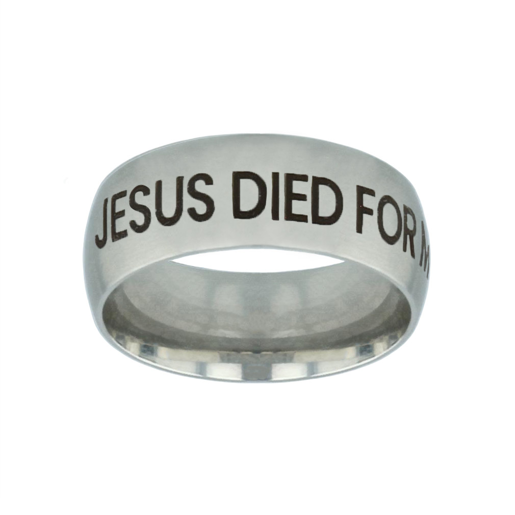 Jesus Died for Me, I Live for Him Silver Domed Ring jesus died for me i live for him,christian jewelry