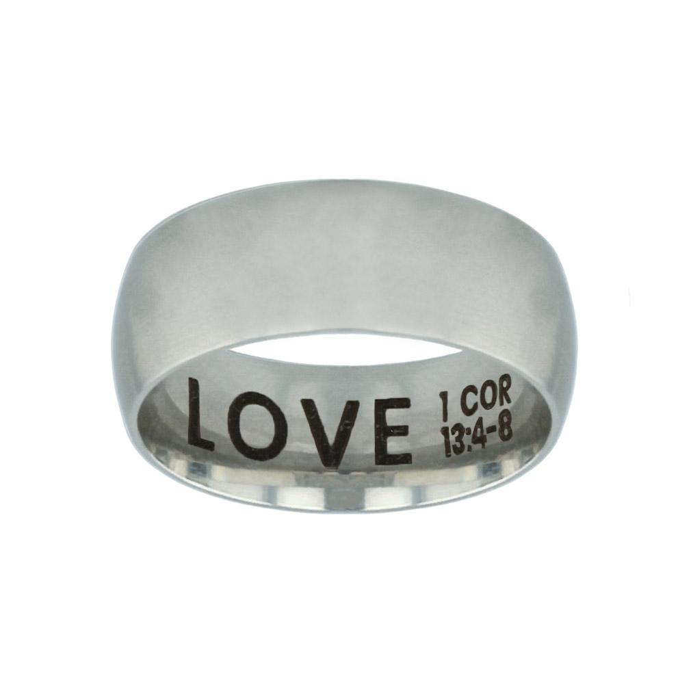 Love Hidden Verse Silver Domed Ring love hidden verse silver domed ring,christian jewelry