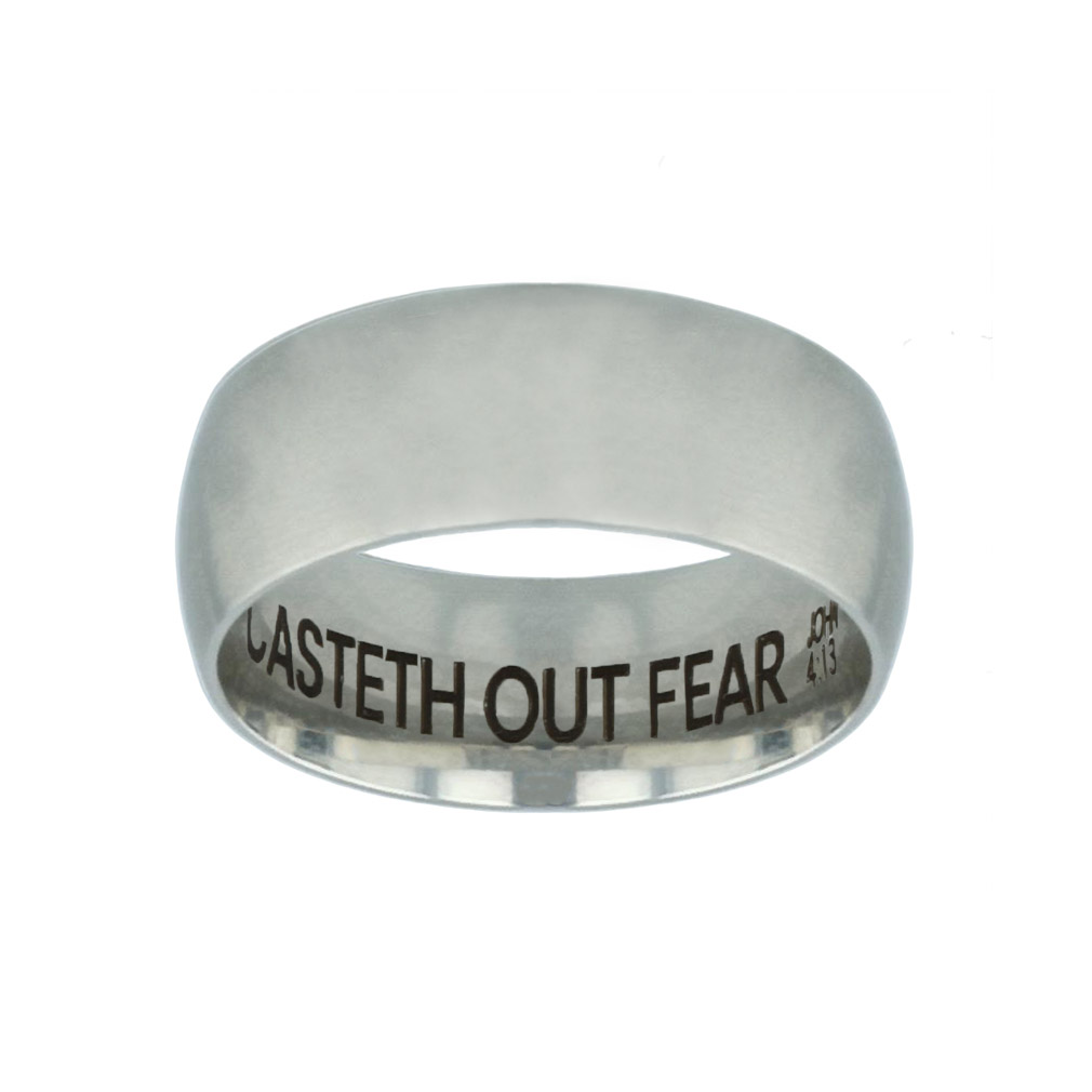 Perfect Love Casteth Out Fear Hidden Verse Silver Domed Ring - LDP-RNGB-SLV-PFTLVE-HV