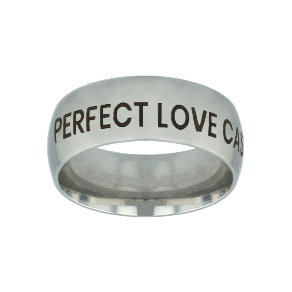 Perfect Love Casteth Out Fear Silver Domed Ring perfect love casteth out fear silver domed ring,christian jewelry