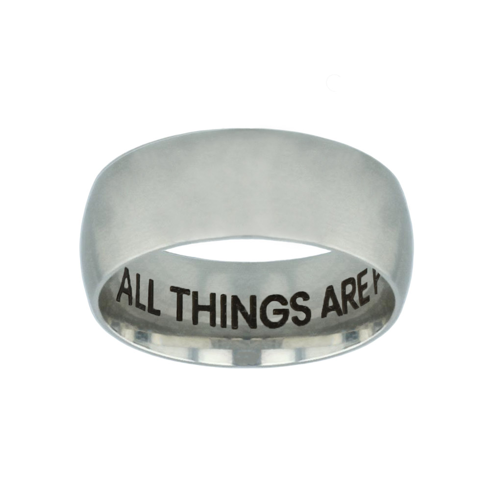 With God All Things Are Possible Hidden Verse Silver Domed Ring - LDP-RNGB-SLV-WGATP-HV