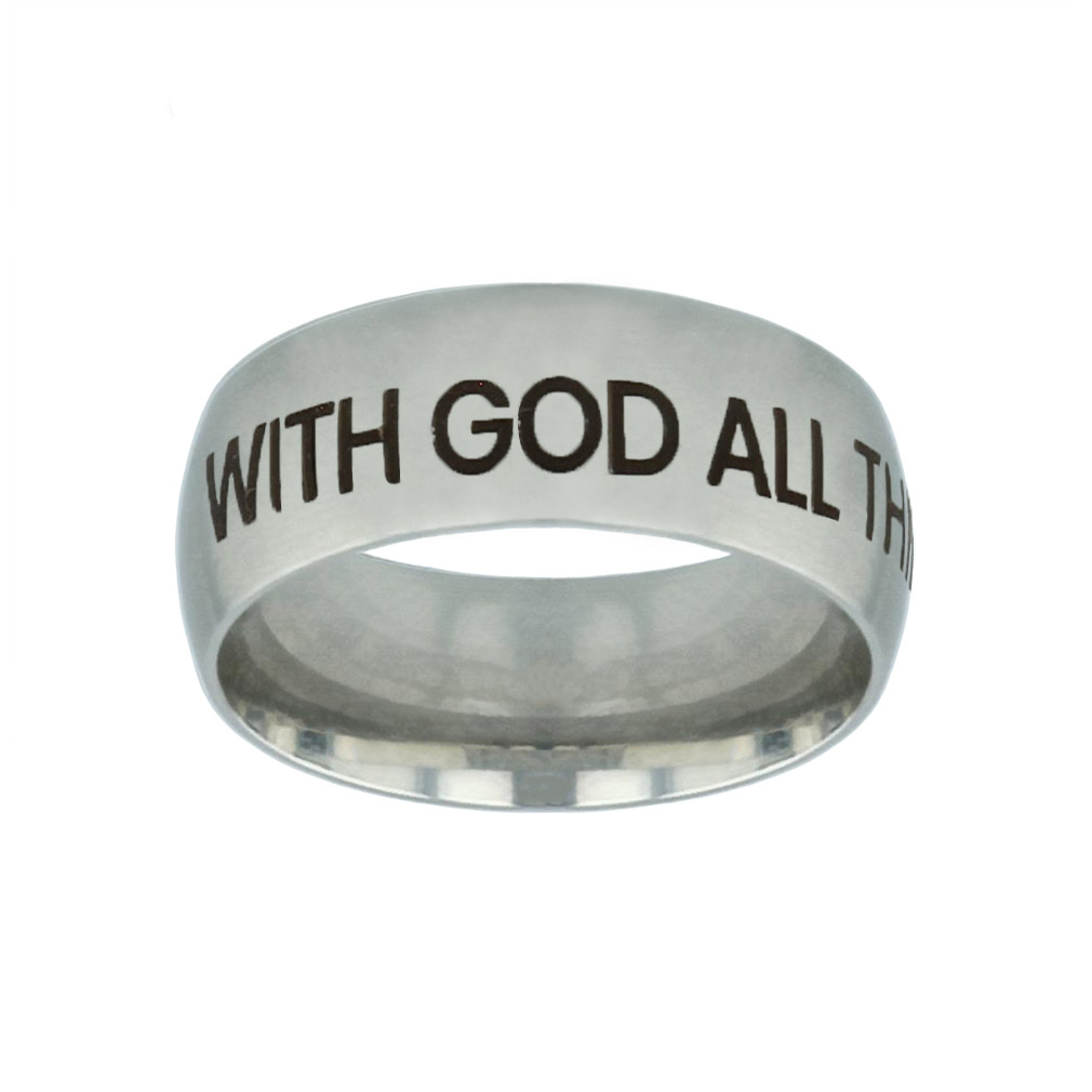 With God All Things Are Possible Silver Domed Ring with god all things are possible silver domed ring,christian jewelry