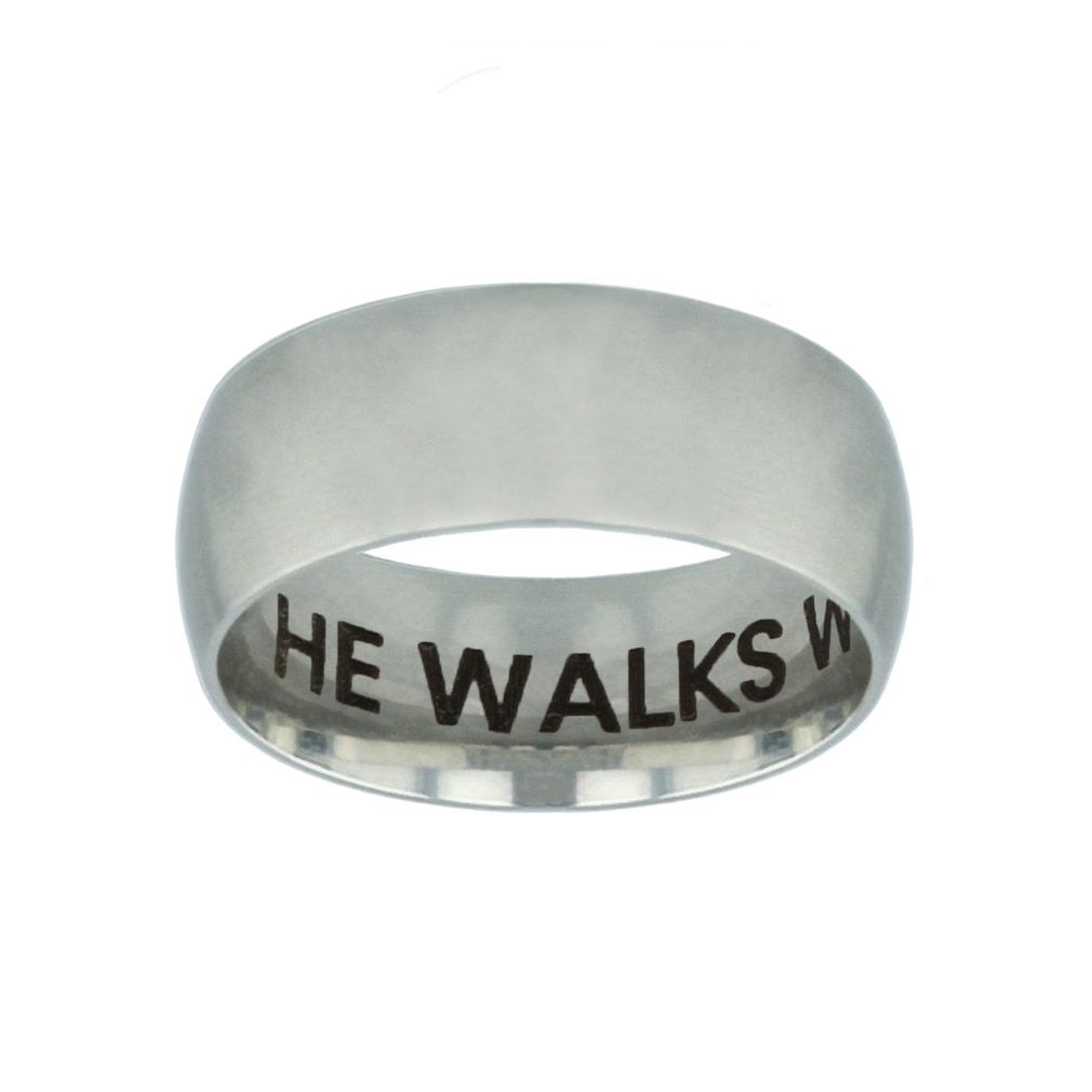 He Walks With Me Hidden Verse Silver Domed Ring he walks with me hidden verse silver domed ring,christian jewelry