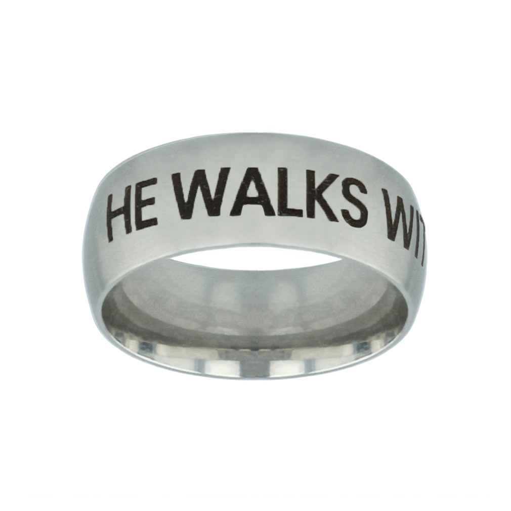 He Walks With Me Silver Domed Ring he walks with me silver domed ring,christian jewelry