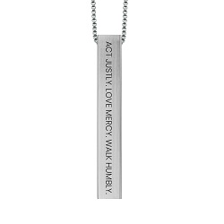 Act Justly. Love Mercy. Walk Humbly. Four-Sided Bar Necklace act justly love mercy walk humbly,act justly love mercy walk humbly four sided bar necklace,fashion jewelry,jewelry cheap,jewelry trendy,jewelry inexpensive,women jewelry,christian woman,christian women,christian women jewelry,christian woman jewelry,christianjewelry,christian jewelry, jewelry for christians,christian jewelry free,jewelry free shipping,necklace free shipping,christian necklace,necklace for christian,necklace for christians