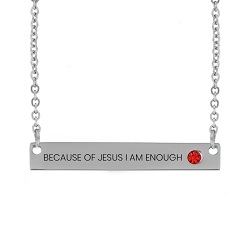 Because of Jesus I Am Enough Birthstone Bar Necklace Because of Jesus I Am Enough Birthstone Bar Necklace,Because of Jesus I Am Enough,Because of Jesus I Am Enough necklace,jesus necklace,christian necklace,jesus christian necklace,christian jewelry,jesus jewelry