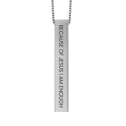 Because of Jesus I Am Enough Four-Sided Bar Necklace because of jesus i am enough four sided bar necklace,because of jesus i am enough necklace,because of jesus i am enough,christian women,christian women jewelry,christian woman jewelry,christianjewelry,christian jewelry, jewelry for christians,christian jewelry free,jewelry free shipping,necklace free shipping,christian necklace,necklace for christian,necklace for christians