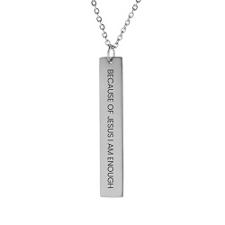 Because of Jesus I Am Enough Vertical Bar Necklace because of jesus i am enough vertical bar necklace,because of jesus necklace,because of jesus,jesus necklace,christian necklace,jesus christian necklace,christian jewelry,jesus jewelry