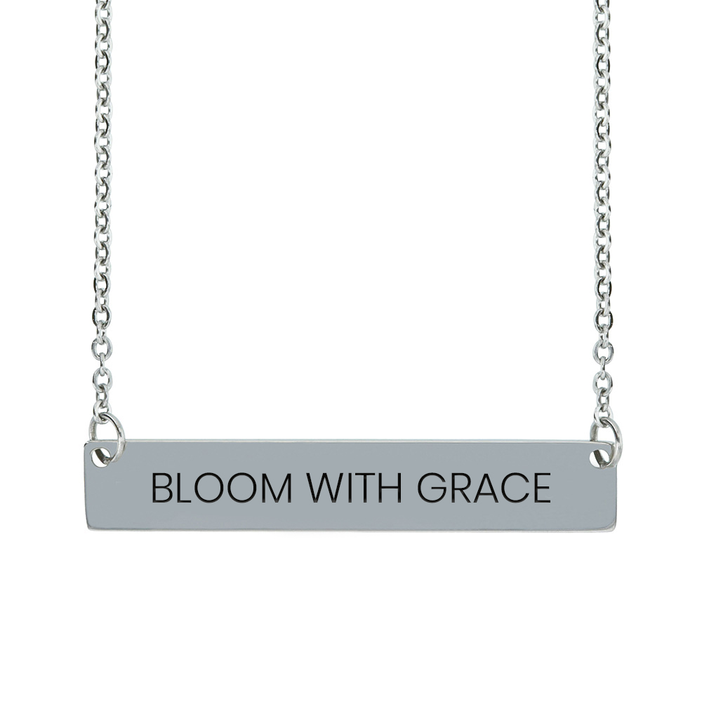Bloom with Grace Horizontal Bar Necklace bloom with grace horizontal bar necklace,bloom with grace,bloom with grace necklace,jesus necklace,christian necklace,jesus christian necklace,christian jewelry,jesus jewelry