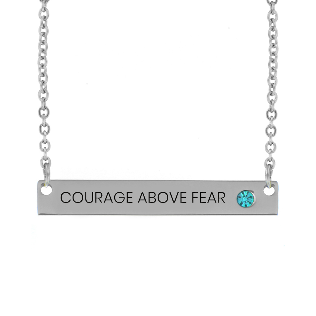 Courage Above Fear Birthstone Bar Necklace - LDP-BSN-CAB