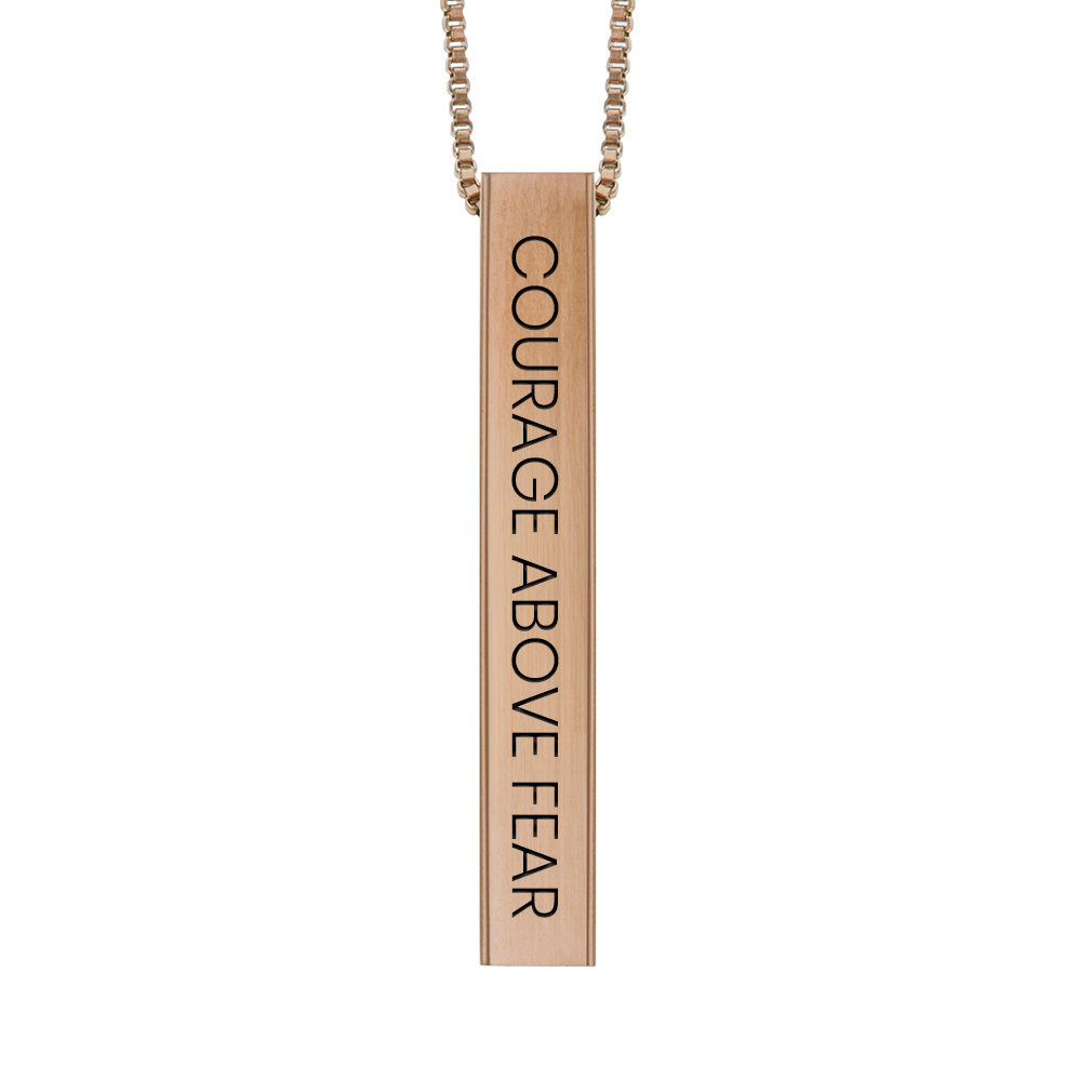 Courage Above Fear Four-Sided Bar Necklace - LDP-FSBN-CAB