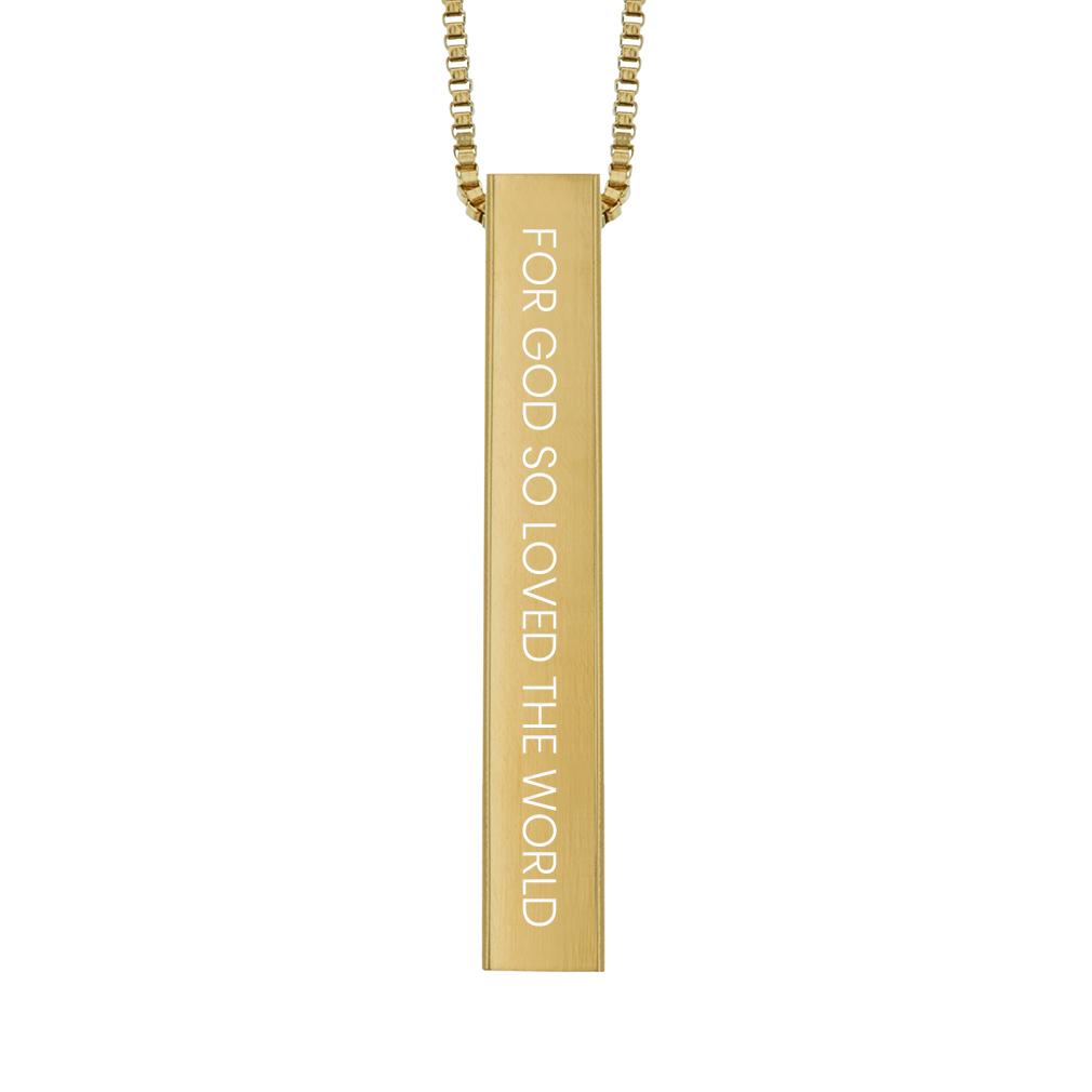 For God So Loved the World Four-Sided Bar Necklace - LDP-FSBN-FORGODLOVE