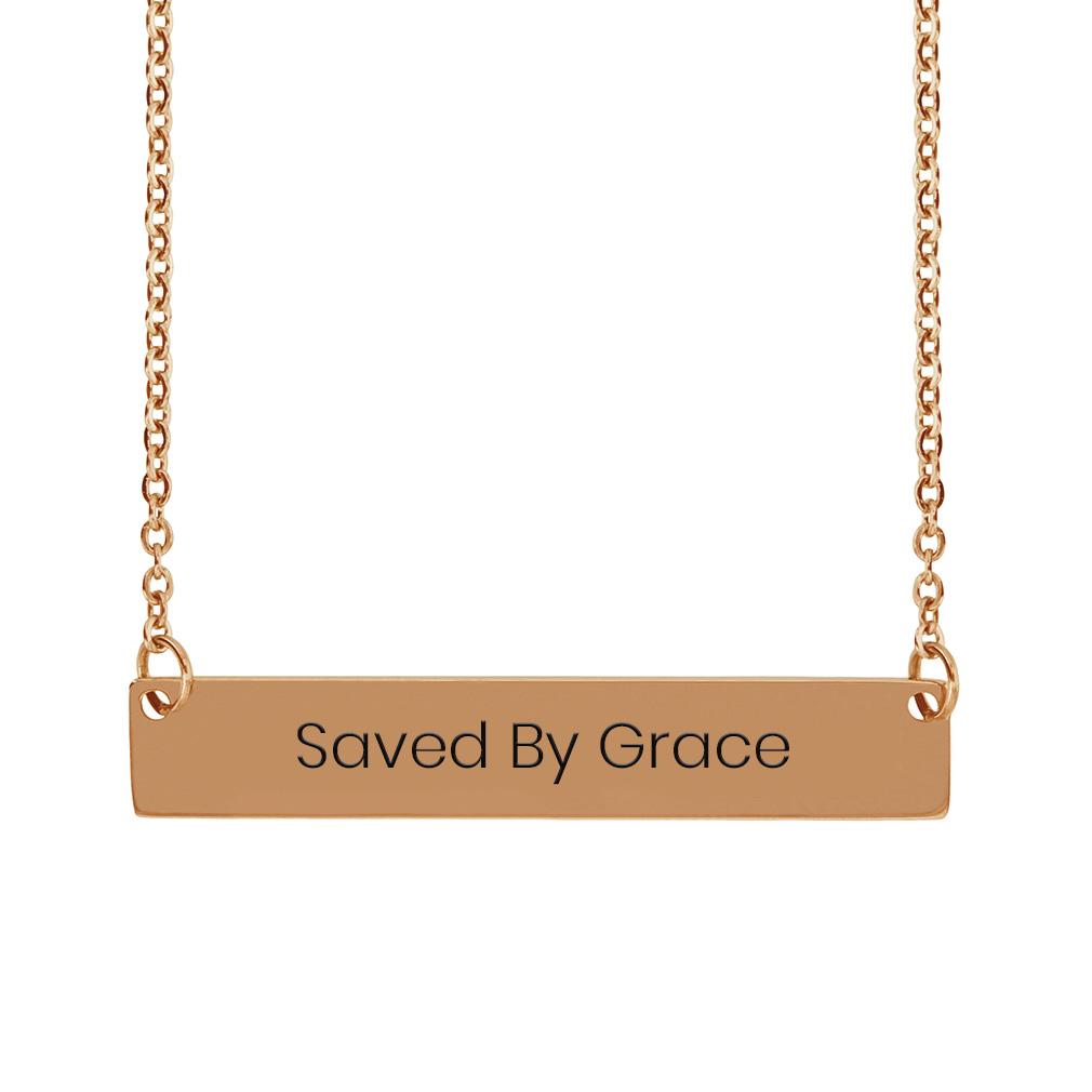 Saved By Grace Horizontal Bar Necklace - FP-HBN-SBGRACE