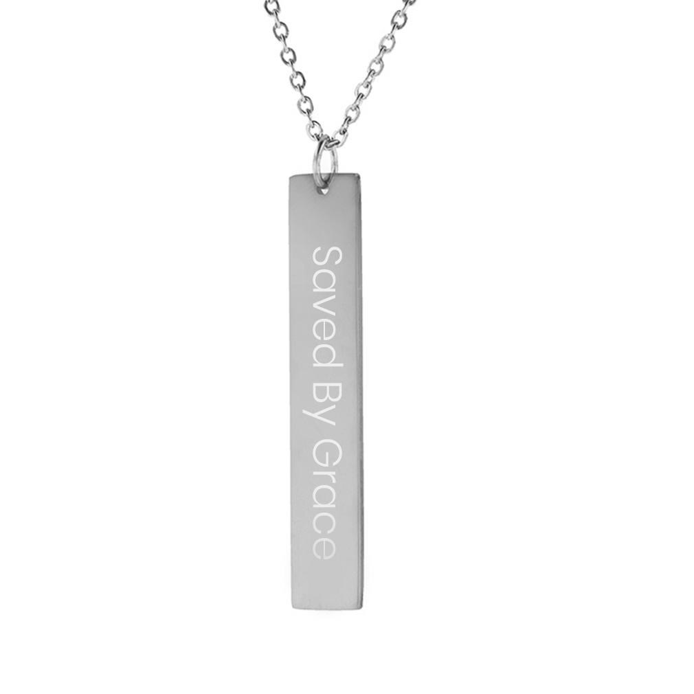 Saved By Grace Vertical Bar Necklace - FP-VBN-SBGRACE