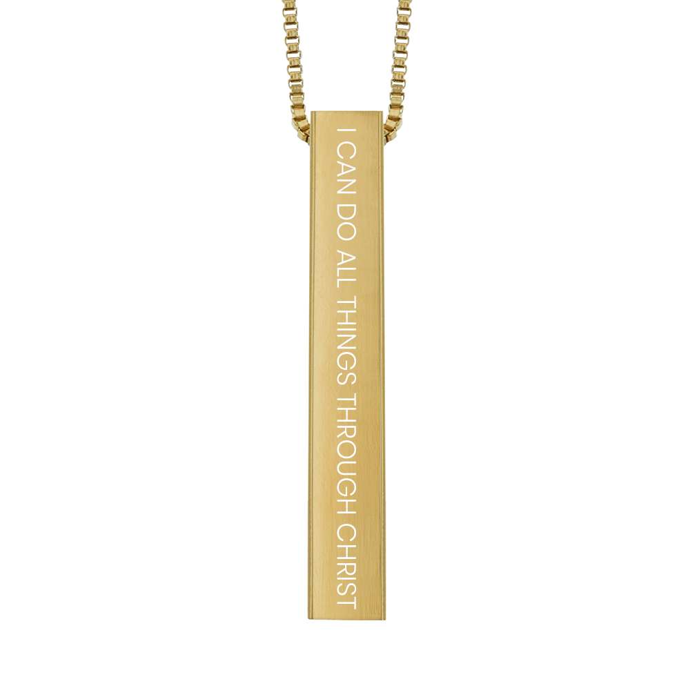I Can Do All Things Through Christ Four-Sided Bar Necklace - LDP-FSBN-ICANDO