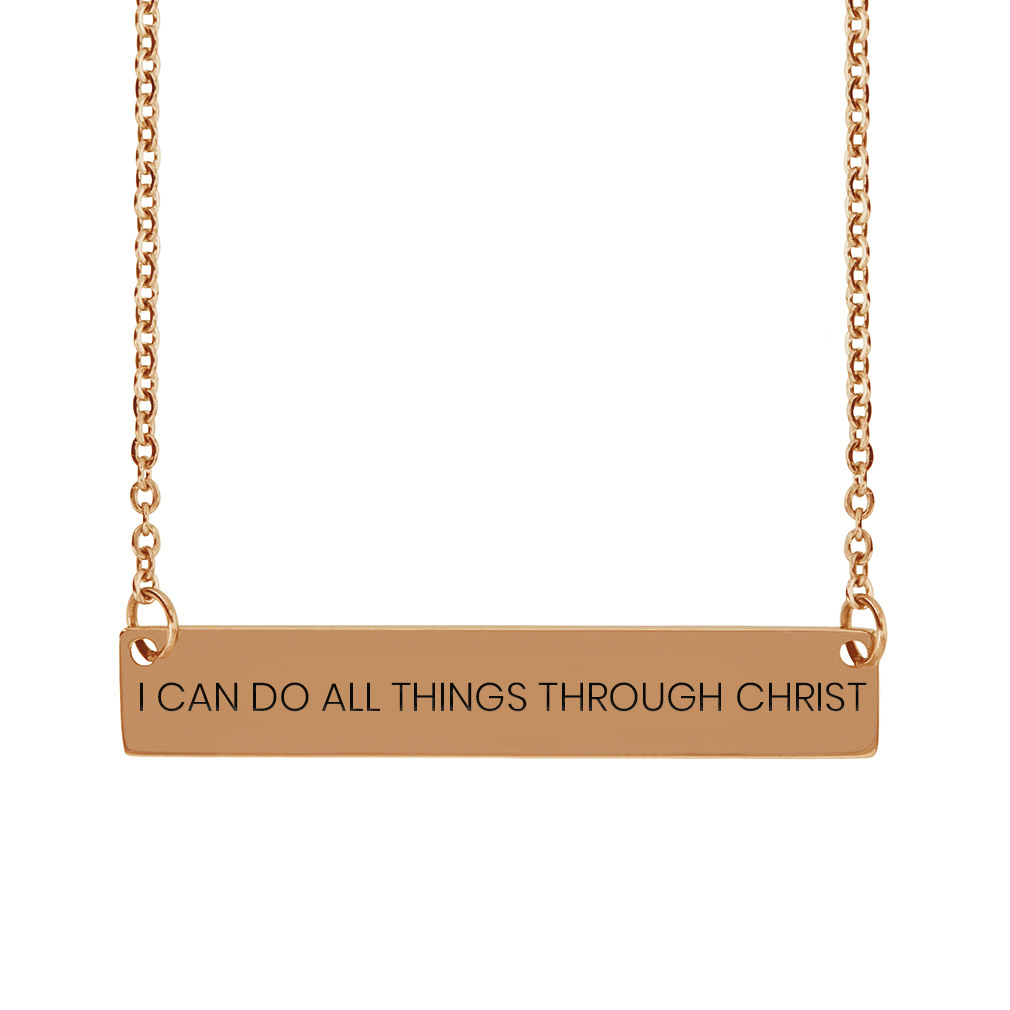 I Can Do All Things Through Christ Horizontal Bar Necklace - FP-HBN-ICANDO