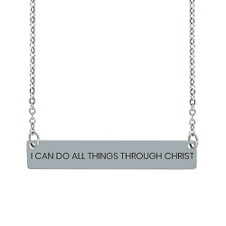 I Can Do All Things Through Christ Horizontal Bar Necklace I Can Do All Things Through Christ Horizontal Bar Necklace, i can do all things through christ necklace, i can do all things necklace, philippians 4:13 necklace