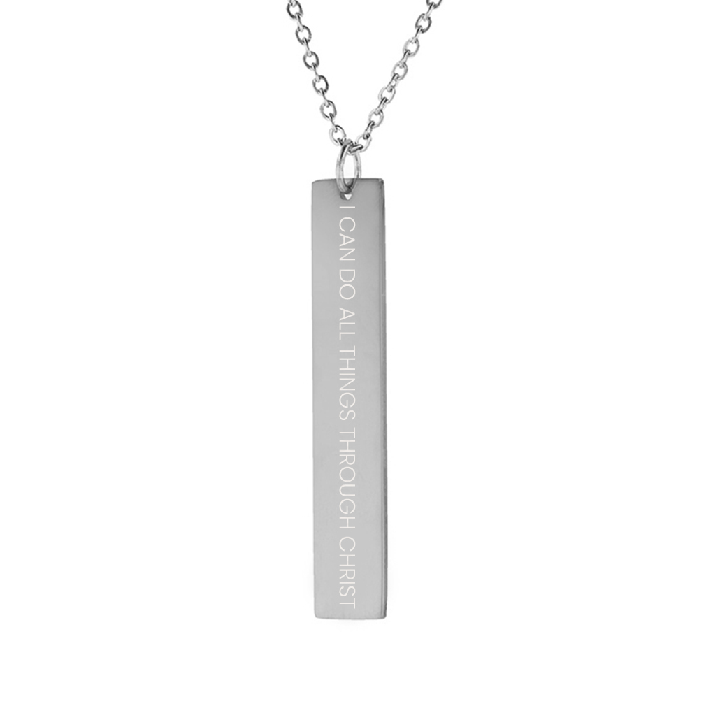 I Can Do All Things Through Christ Vertical Bar Necklace - LDP-VBN-ICANDO