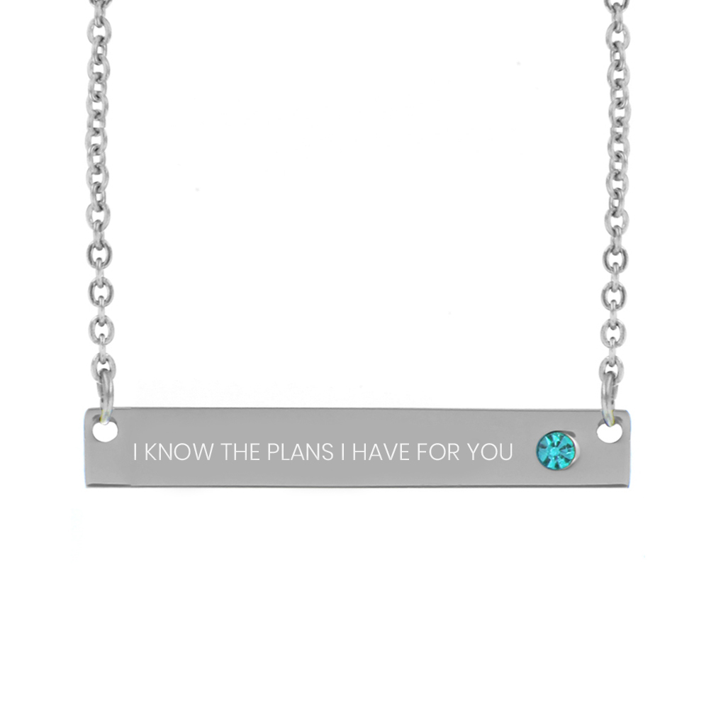 I Know the Plans I Have For You Birthstone Bar Necklace - LDP-BSN-IKPLN
