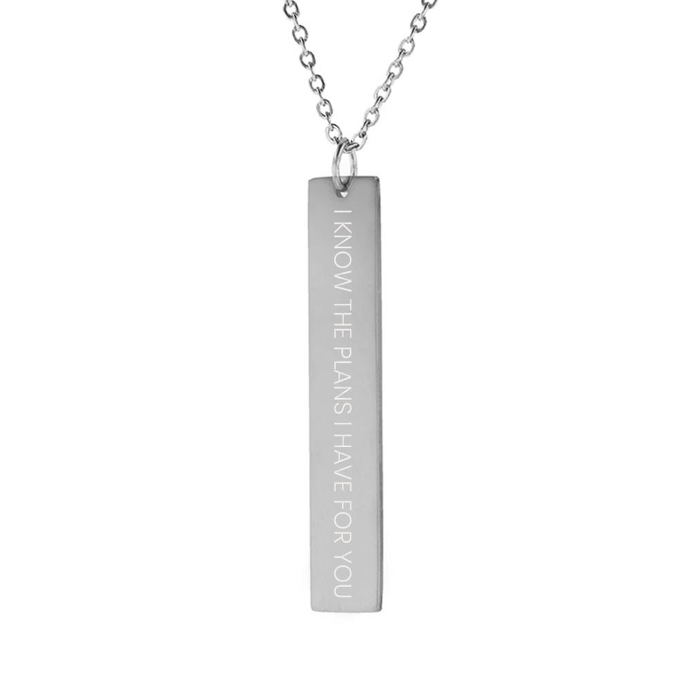 I Know the Plans I Have For You Vertical Bar Necklace - LDP-VBN-IKPLN