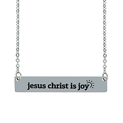 Jesus Christ Is Joy Horizontal Bar Necklace  jesus is joy necklace, jesus christ is joy jewelry, jesus christ is joy necklace, jesus christ is joy horiziontal bar necklace