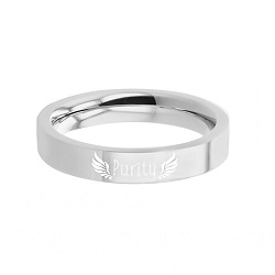 Angel Purity Ring - Narrow Flat Edge  purity ring, puirty hearts ring, engrable cross ring, engrave-able ring, engraved ring, personalized ring, customized ring, princess ring, stainless steel ring