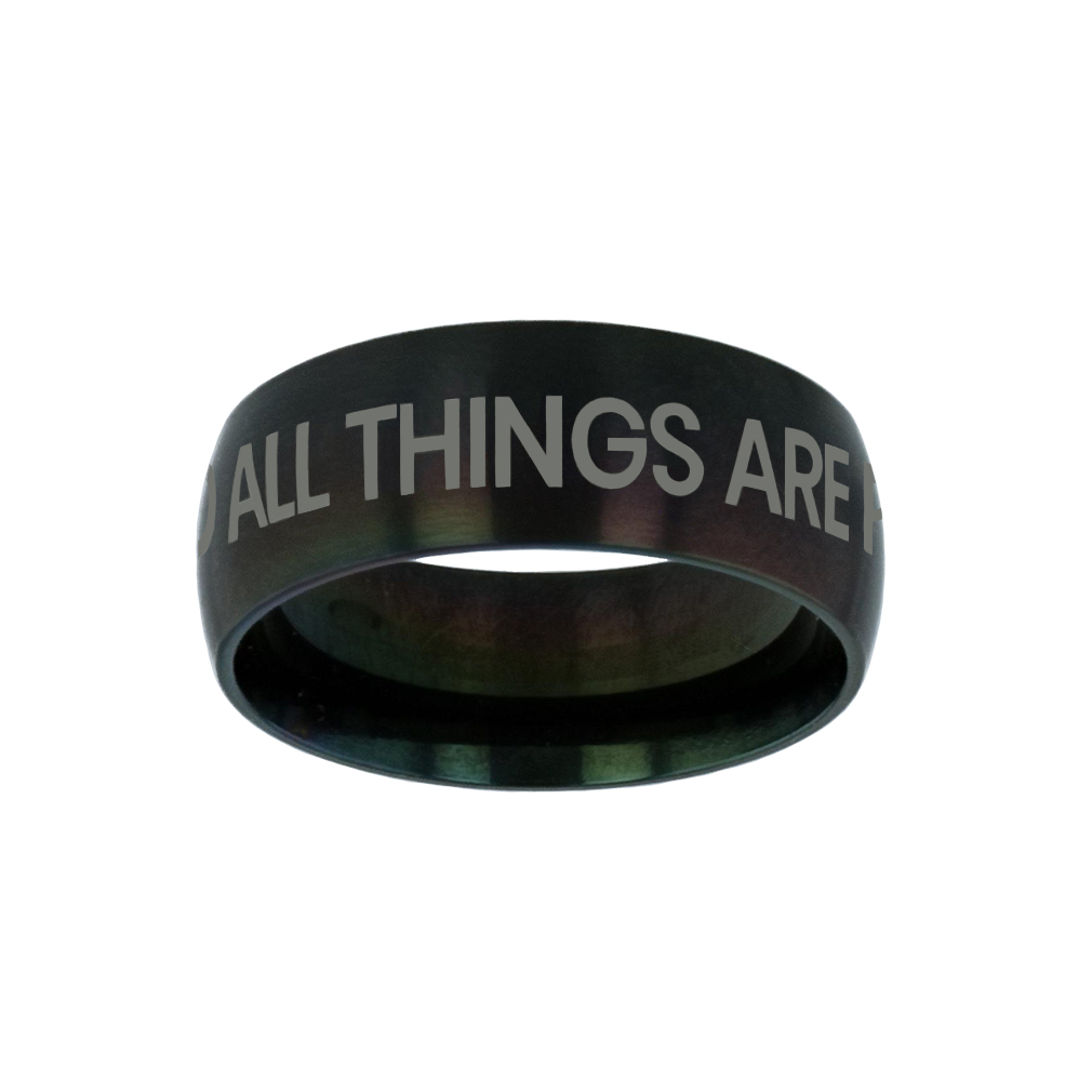 With God All Things Are Possible Silver Domed Ring - LDP-RNGB-BLK-WGATP