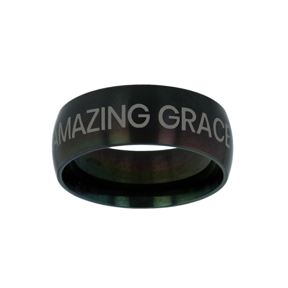 Amazing Grace Black Domed Ring purity ring, black purity ring, purity ring for men, mens purity ring