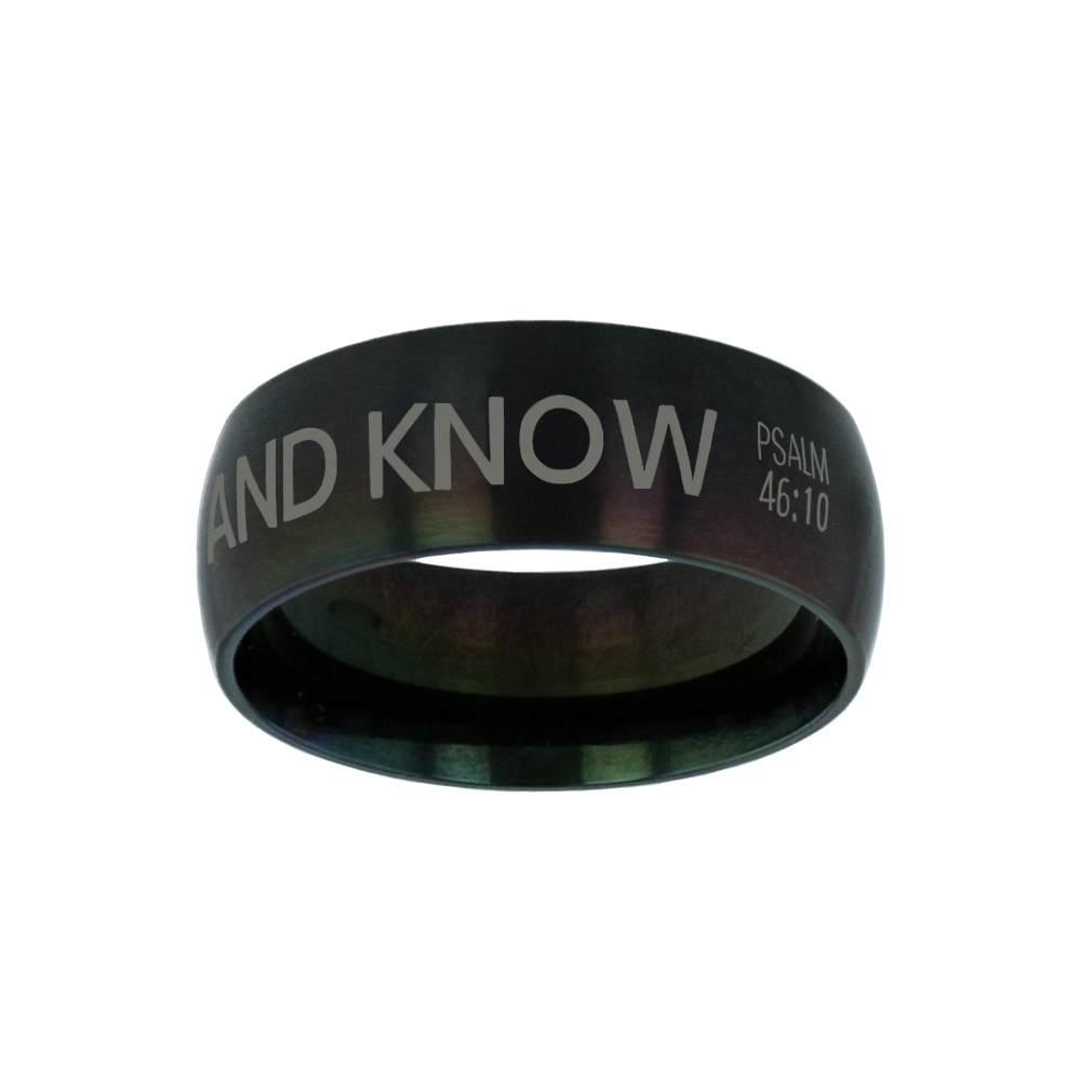 Courage Above Fear Black Domed Ring purity ring, black purity ring, purity ring for men, mens purity ring