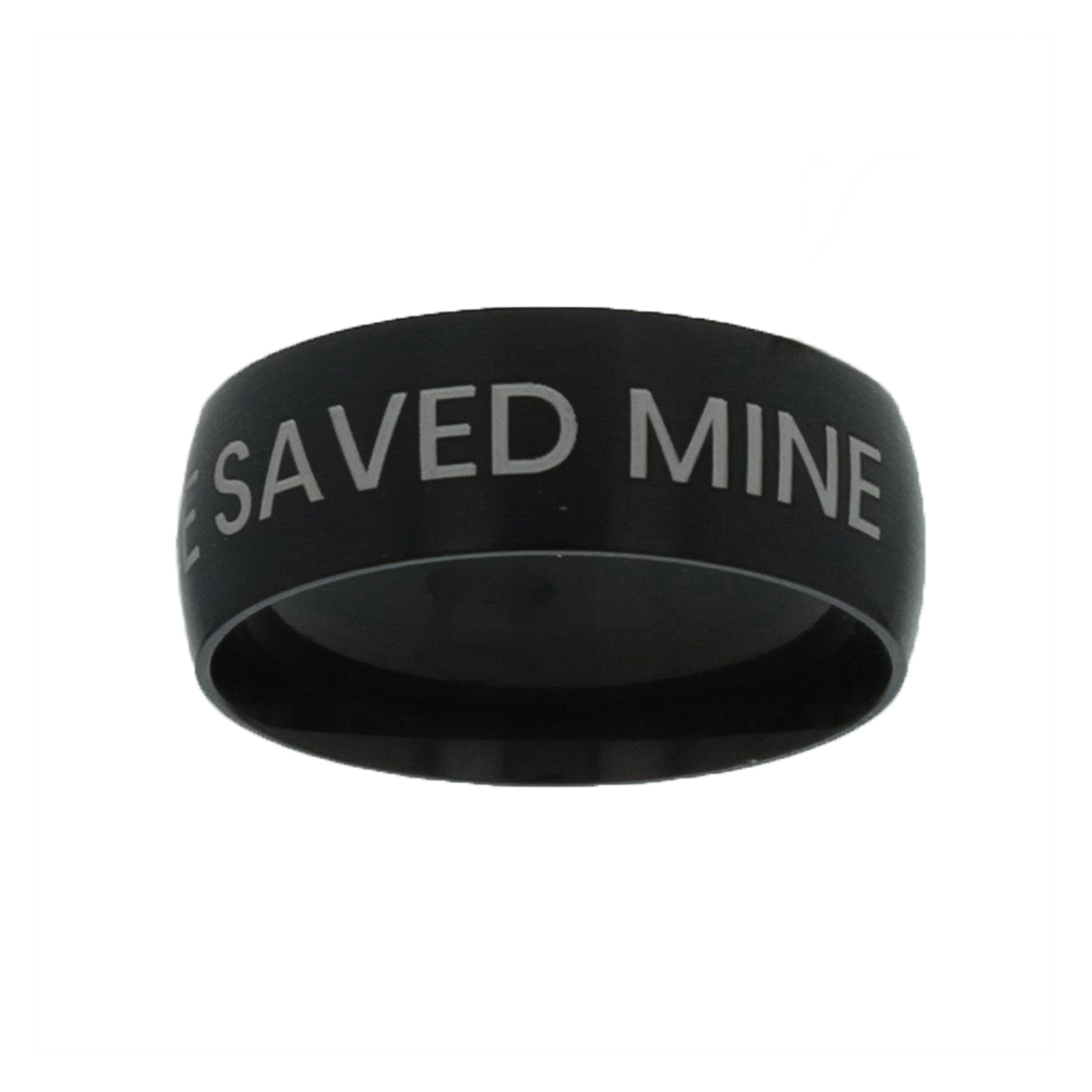 His Life Saved Mine Black Domed Ring - LDP-RNGB-BLK-HISLIFE