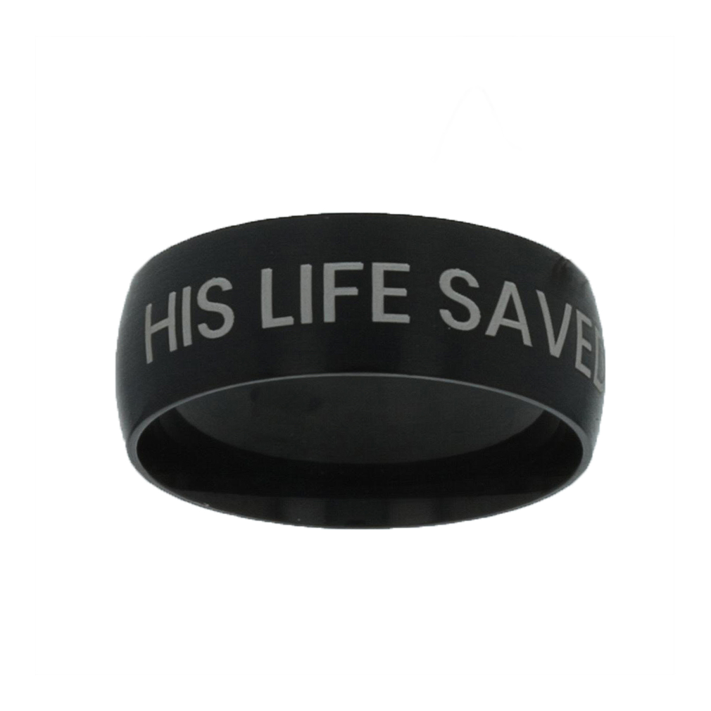 His Life Saved Mine Black Domed Ring black domed ring,christian jewelry,christian black ring,men rings,christian rings