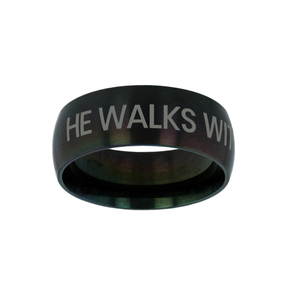He Walks With Me Black Domed Ring give me jesus,black domed ring,christian jewelry