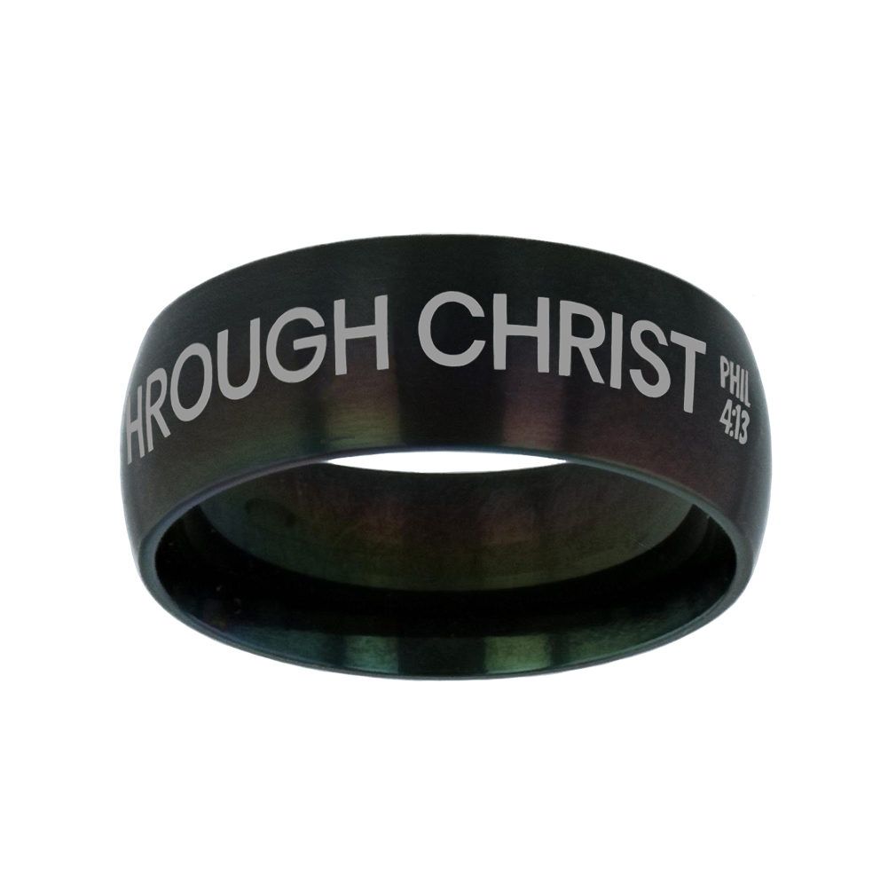 I Can Do All Things Through Christ Black Domed Ring - FP-RNGB-BLK-ICANDO