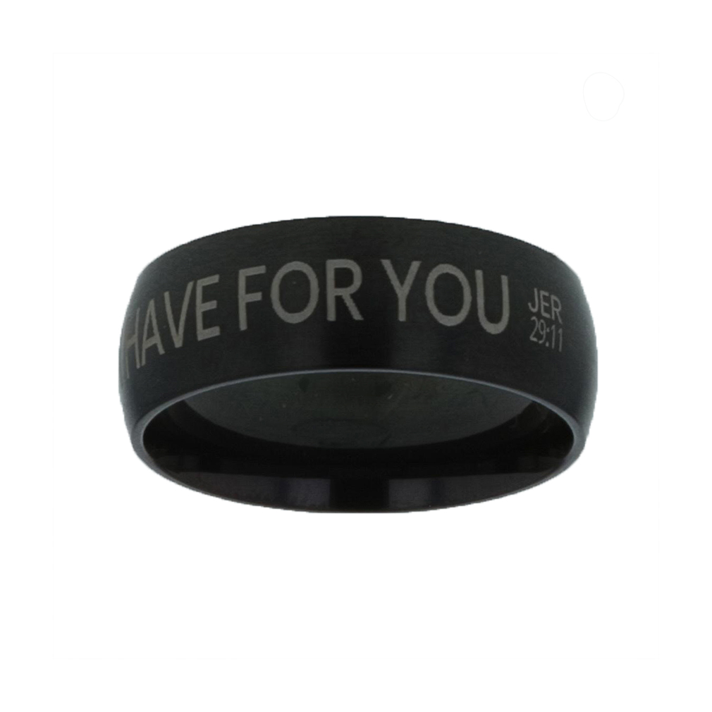 I Know the Plans I Have For You Black Domed Ring - LDP-RNGB-BLK-IKPLN