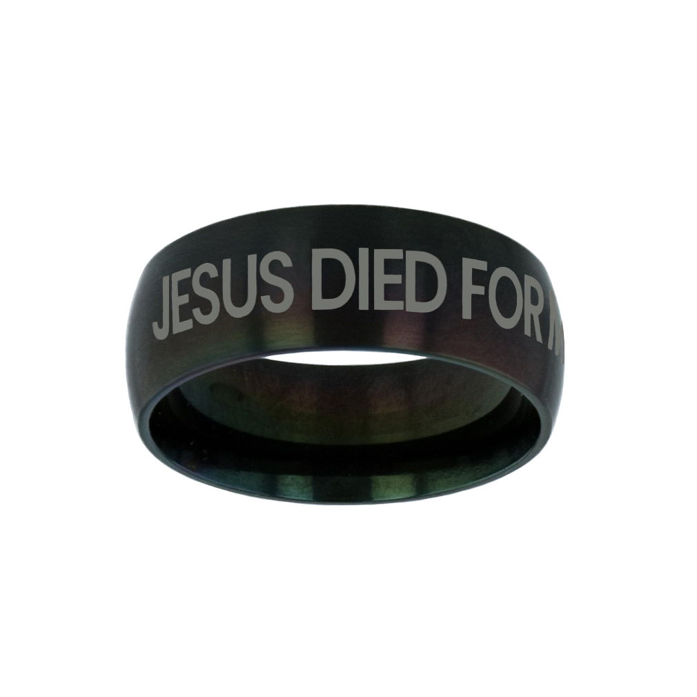 Jesus Died for Me, I Live for Him Black Domed Ring purity ring, black purity ring, purity ring for men, mens purity ring