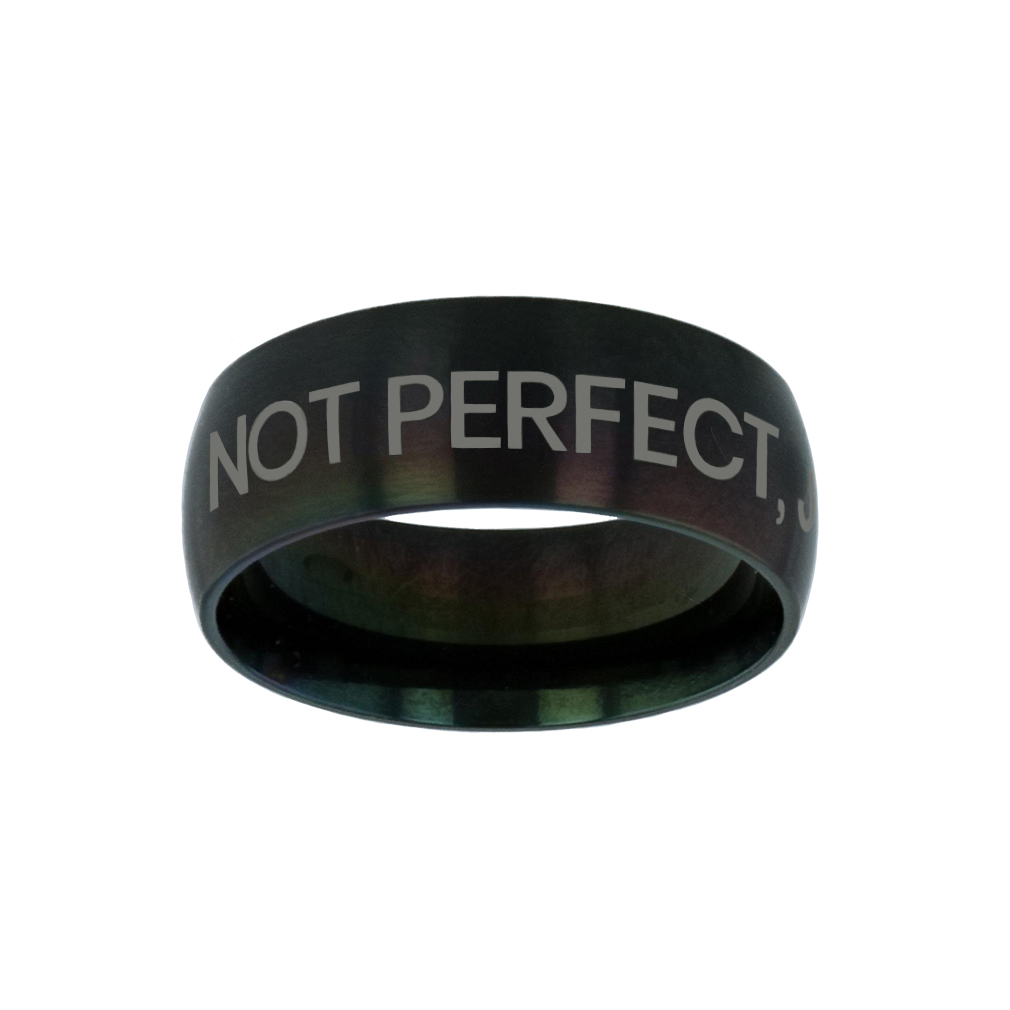 Not Perfect, Just Forgiven Black Domed Ring give me jesus,black domed ring,christian jewelry