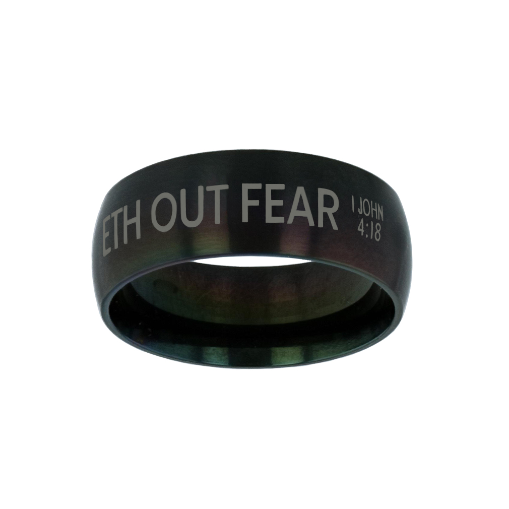 Perfect Love Casteth Out Fear Black Domed Ring - LDP-RNGB-BLK-PFTLVE