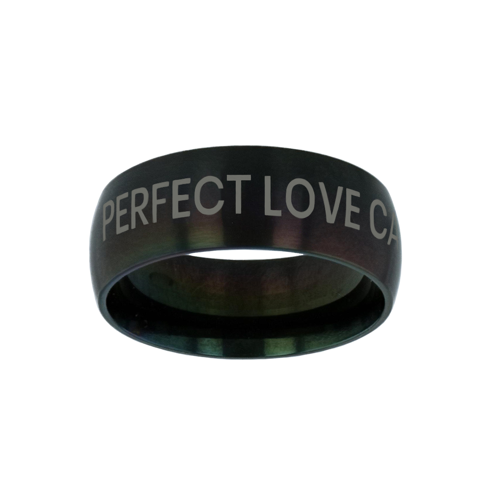 Perfect Love Casteth Out Fear Black Domed Ring give me jesus,black domed ring,christian jewelry
