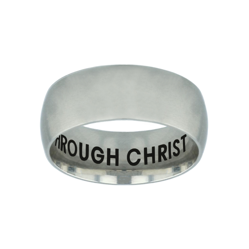 I Can Do All Things Through Christ Hidden Verse Silver Domed Ring - LDP-RNGB-SLV-ICANDO-HV