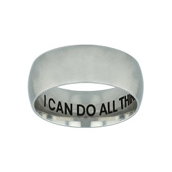 I Can Do All Things Through Christ Hidden Verse Silver Domed Ring  i can do all things through christ ring,