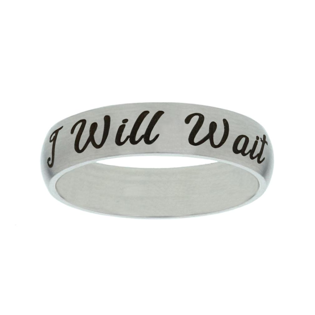 I Will Wait Narrow Silver Ring - LDP-RNGF-IWW