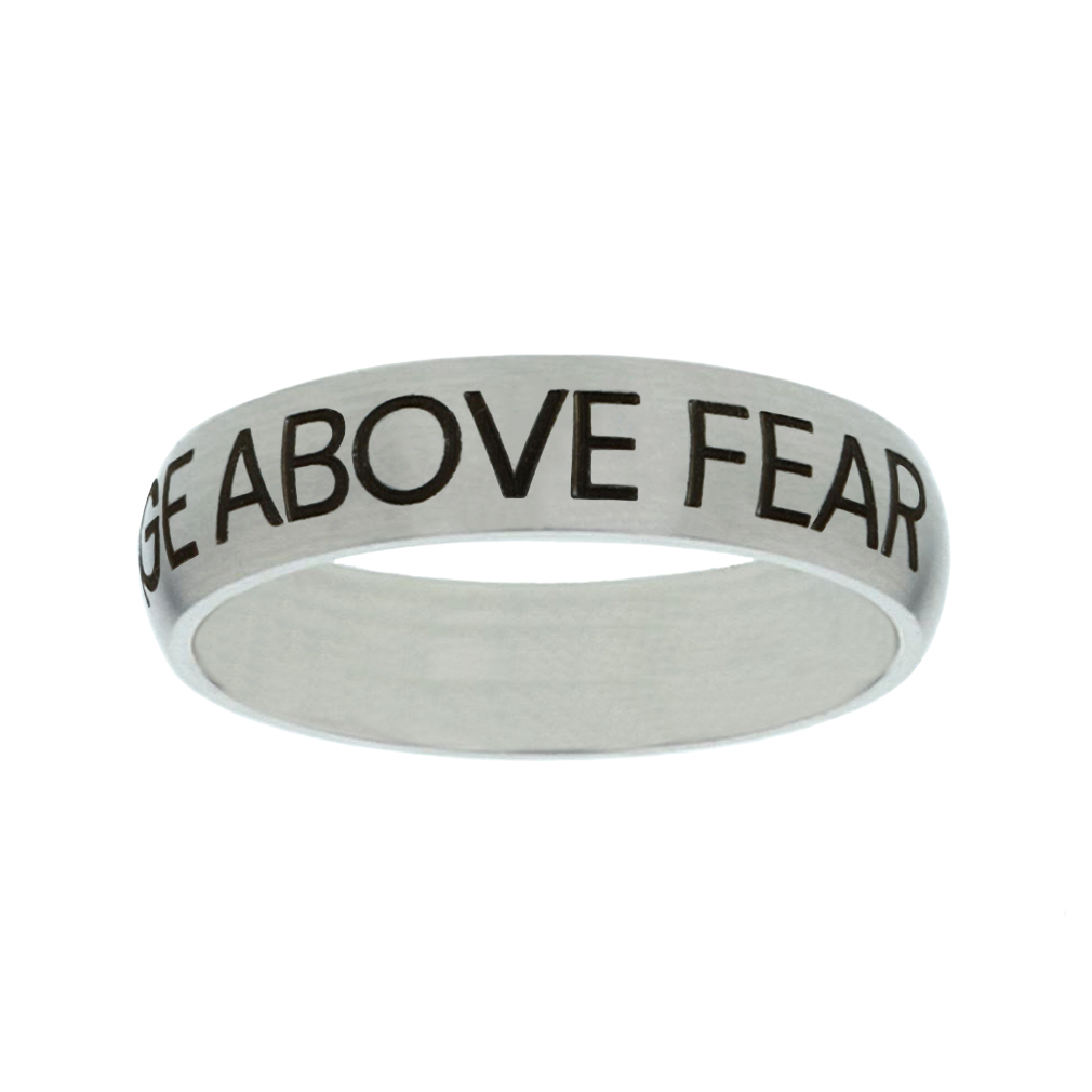 Courage Above Fear Matte Narrow Silver Ring - FP-RNGF-CAF