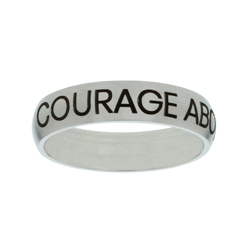 Courage Above Fear Matte Narrow Silver Ring christian jewelry,christian ring,matte narrow silver ring,womens ring,christian womens ring
