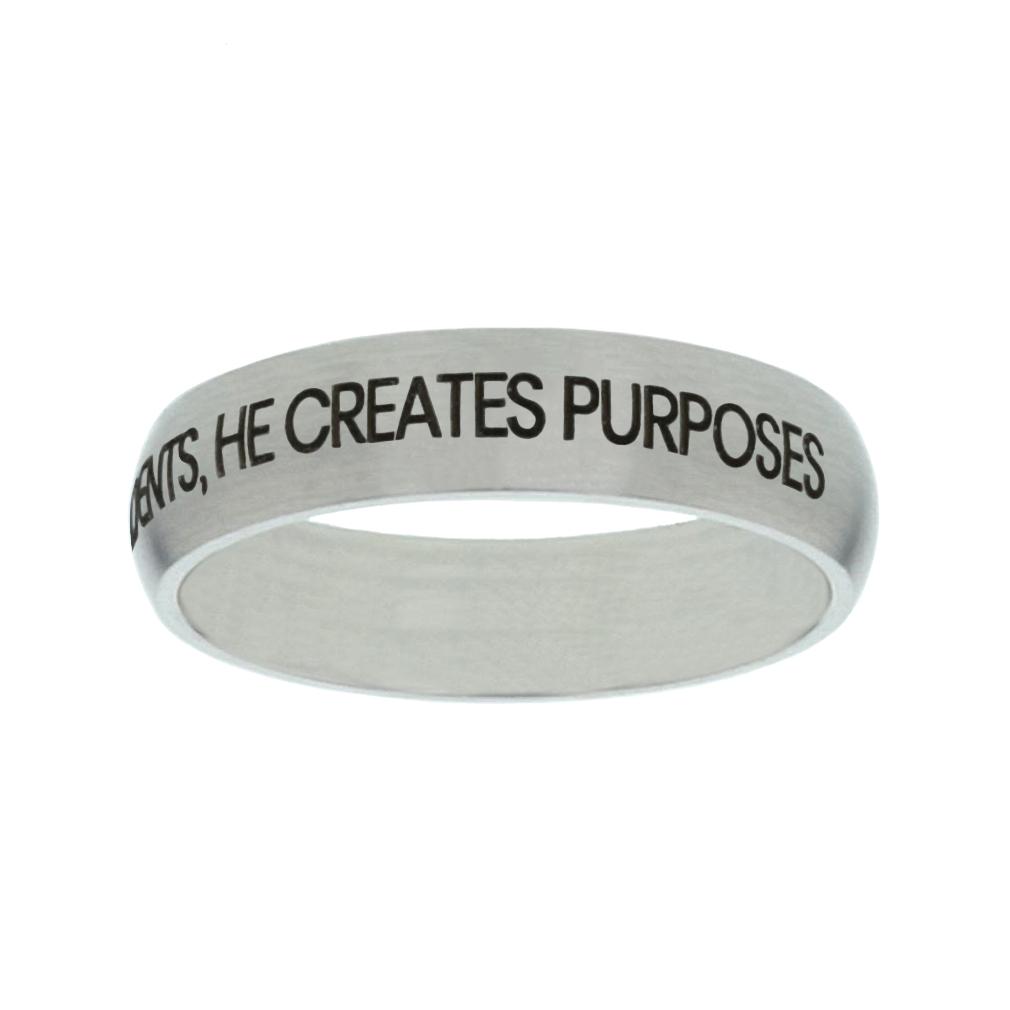 God Doesn't Design Accidents, He Creates Purposes Matte Narrow Silver Ring - LDP-RNGF-GDDA